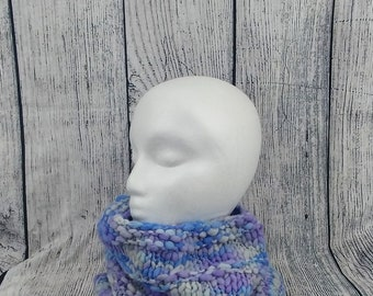 Chunky Cowl - Chunky Neckwarmer - Gift for Her - Knit Cowl - Blue and Purple Cowl - Soft Neckwarmer - Knitted Cowl - Knitted Neckwarmer