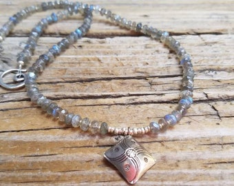 Labradorite Necklace and Hill Tribe Silver, Blue Flash, Artisan Style, Boho Style, Beachy, Sterling Silver