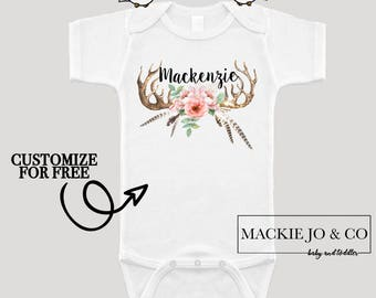 Antlers with Flowers and Feathers Boho Bohemian PERSONALIZE NAME Girls Bodysuit