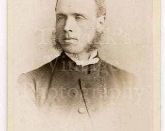 CDV Carte de Visite Photo Victorian Young Man with Mutton Chops Portrait by H J Whitlock of Birmingham England