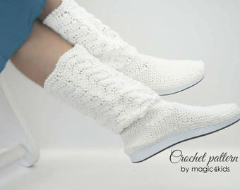 Crochet pattern: outdoor women lace boots,rubber soles,summer boots,all female sizes,adult,girl,outdoor,shoes,rubber soles,girl,footwear
