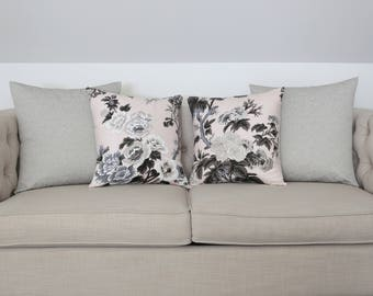Pyne Hollyhock Blush designer pillow cover - Schumacher fabric - 1 SIDED OR 2 SIDED - Choose Your Size