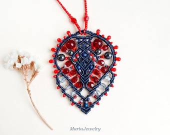 Bohemian necklace, macrame, micro-macrame jewelry, layer, pendant, glass, beaded, beadwork, unique, boho chic, beadwoven, lace, blue red