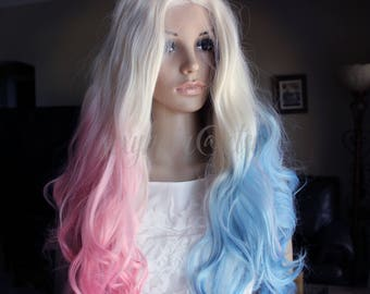 Heat friendly wigs extensions by sexyhair on etsy ready to ship pink blue front lace wig comic costume pastel wig harley pmusecretfo Image collections