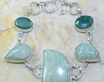 Aquamarine and Emerald Bracelet in Silver