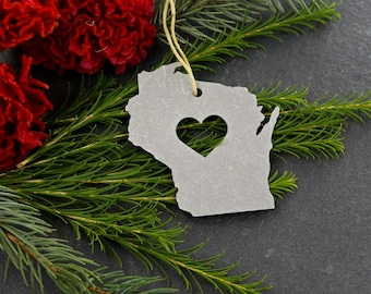 Love Wisconsin Christmas Ornament State Rustic Aluminum Holiday Gift for Her Him spring Decor Wedding  Personalized Home Iron Maid Art