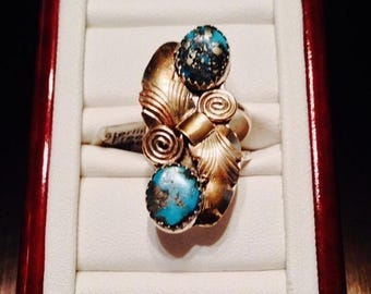 ON SALE - Free Form Turquoise Two-Tone Bypass Ring - Sterling Silver Size 5-1/4