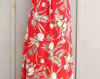 Red Hawaiian Dress - Vintage Tropical Dress - 70s A Line Dress - 1970s Beach Dress - Red Floral Sundress - Summer Dress - Tiki Dress - Luau