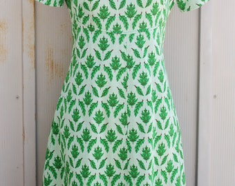 Vintage Leaf Pattern Dress - 60s Mod Dress - Short Sleeve Mini Dress - Retro Scooter Dress - 1960s Twiggy Dress - Mint Green Dress - Indie