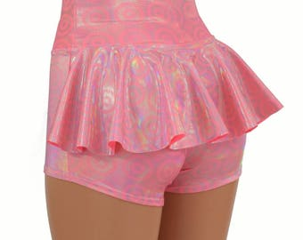 On Point Pink High Waist Ruffle Rump Metallic Holographic Shiny Circle Disks Spandex Booty Shorts - 154741