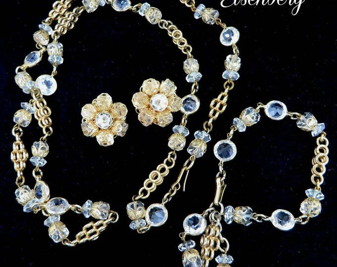 Eisenberg Bracelet, Necklace, Earrings, Vintage Crystal Parure, Goldtone Jewelry Set, Bridal Jewelry