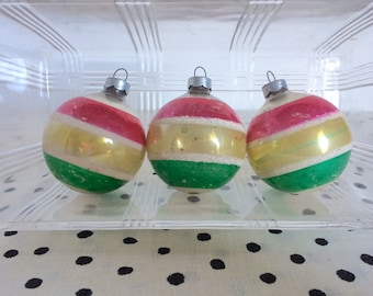 Vintage Pink and Green Striped Ornaments, 1950s Christmas Ornaments, Midcentury Christmas Ornaments, Striped Ornaments, Mercury Glass Mica