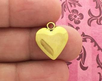 8 Plain Gold Heart Charm Pendant 16x14mm by TIJC SP1156