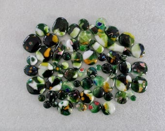 Assorted Irregularly Shaped Green Fused Glass Cabochons