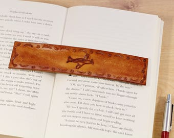 Light Airplane Bookmark Hand Carved Leather Bookmark New Pilot Gift Flying Gift For Him Light Aircraft Gift For Pilot Bookmark For Men