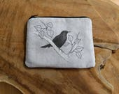 Cotton Coin Purse, Zipper Pouch | Blackbird and birch tree printed bag, zippered cotton pouch, bird pouch with print from original drawing.