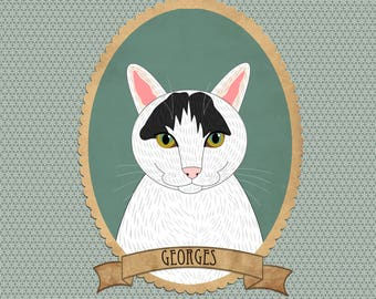 Custom cat portrait. Cat illustration. Cat memorial. Gift for cat lovers. Pet portraits.