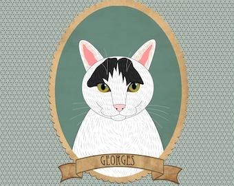 Custom cat portrait. Cat illustration. Cat memorial. Gift for cat lovers. Pet portraits.