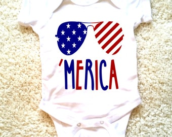 Merica 4th of July graphic for babies, newborn, 6 months, 12 months, 18 months funny graphic baby onesie