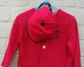 vintage boys jacket and matching cap racing fire engine red age 2 christening outfit or special occasion vintage 1950s