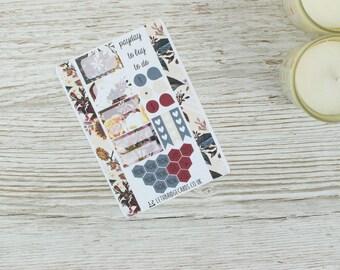 Dark Flowers Pocket Planner Kit; Weekly Kit; TN Kit; Planner Stickers; Filofax; Mini Kit; Valentines Stickers; Feb Weekly Kit