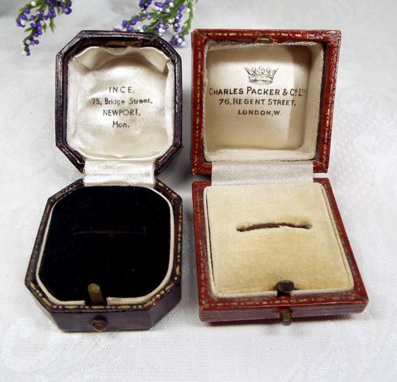 Vintage / Antique 2 Old Brown Jewellery Ring Boxes for Display Collection Gift