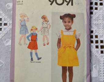 Simplicity 9091 Sewing Pattern Child Girl Sundress Jumper Blouse Size 4 DIY Vintage Clothing Fashion Sewing Crafts PanchosPorch