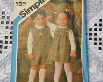 Simplicity 6609 Sewing Pattern Toddler Jumpsuit and Jumper Size Half and 1 DIY Vintage Clothing Fashion Sewing Crafts PanchosPorch