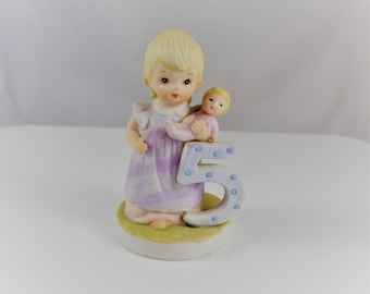 The Christopher Collection, lefton china, hand painted statue, happy birthday, hbd, 5th birthday, collectible statue, pastel collectible