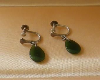 Vintage Art Deco Style Sterling Silver & Jade Screw Back Earrings Hallmarked