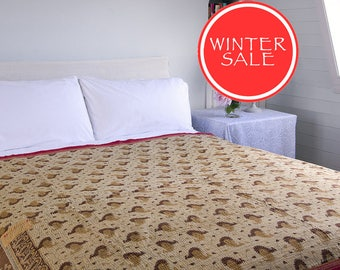 WINTER SALE - KANTHA Throw - Light brown with ochre. Purple and pale turquoise - Unique, one of a kind.