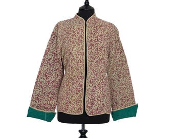 KANTHA JACKET - XX Large - Short style - Size 16/18 - Brown and Beige. Reverse Green