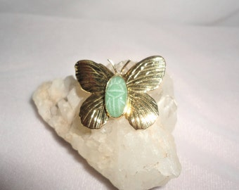 Stunning Vintage Gold-Filed Jade Butterfly Brooch****.