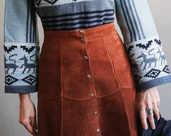 70s Suede Leather Skirt - Midi A-Line Raw Leather - Cinnamon Brown Sienna Tan - Snap Front - Women's Size Medium