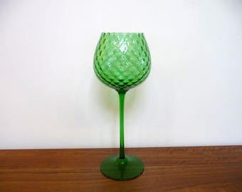 Large Empoli Italy Glass Green Optic Glass Goblet Chalice