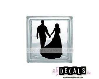 Bride and Groom (holding hands) - Wedding Vinyl Lettering for Glass Blocks - Craft Decals