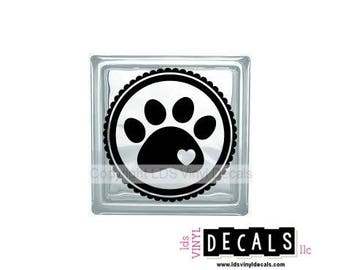Paw (with heart) - Animal and Pet Vinyl Lettering for Glass Blocks - Dog Craft Decals
