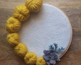 Embroidery Hoop Art - Fiber Decor - Home Decor - Floral Art - Felt Art - Office Decor - Felt Flowers - Felt Decoration - Gift Giving