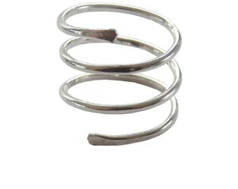 Sterling Silver Coil Ring; Slinky Ring; Spiral Ring; Statement Ring; Silver Spiral Ring; Coil Ring; Snake Ring; Wrap Ring; texture Ring
