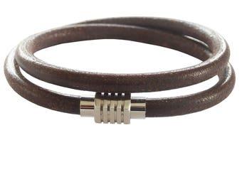 Brown Leather Wrap Bracelet; UNISEX Jewelry; Gifts for Him; Magnetic Jewelry; Magnetic Bracelet; Magnetic Clasp; Leather Wrap Bracelet;