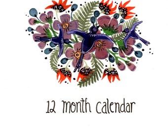 Birds and Words- 12 Month Calendar Birthday Calendar Record Book