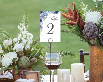 Table Numbers - Wedding Table Numbers - 4x6 Wedding Table Signs 1-40 - Reserved Sign - Head Table - Instant Download - Hydrangea