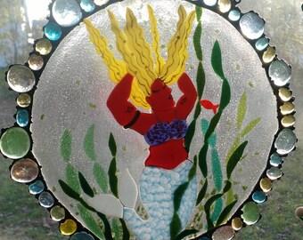 Fused Round Art Glass Mermaid Panel