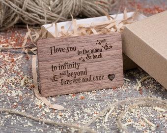 Wood Wallet Personalized Insert Card, gift-ready love phrase, boyfriend gift, Walnut Wallet Insert love card, gift for dad, gift for him.