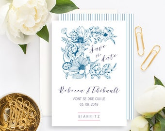 Floral Wedding Save the Date with white envelope - Wedding Save the Date - Flowers Wedding Invitation - Vintage Floral Wedding - Botanical