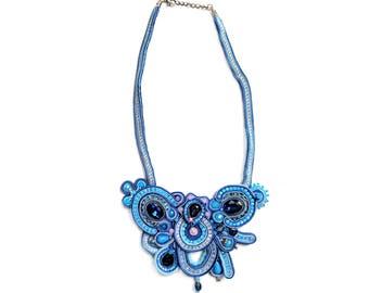Soutache necklace - Soutache jewelry - Blue necklace - Glamour jewelry - Fashion jewelry - Chunky necklace - Big bold - Elegant necklace