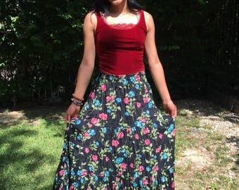 Maxi skirt, prairie skirt, rayon skirt, Long black skirt,black,blue,pink, large,L