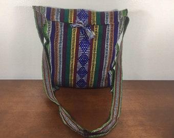 Mexican Blanket Purse, Bag, Boho, Shoulder Bag, Blue, Green, Yellow