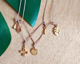Boho Charms Choker Necklaces / Silver Filled Brass / Gold Filled Brass / Drop Charm, Monstera Leaf, Lotus / Boho Rock Gypsy Short Necklace