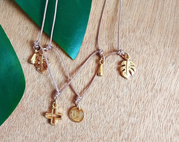 Boho Charms Choker Necklaces / Silver Filled Brass / Gold Filled Brass / Drop Charm, Monstera Leaf, Lotus / Boho Rock Gypsy Short Necklace